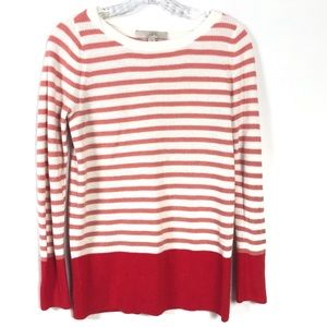 Ann Taylor Loft White & Red Striped Sweater
